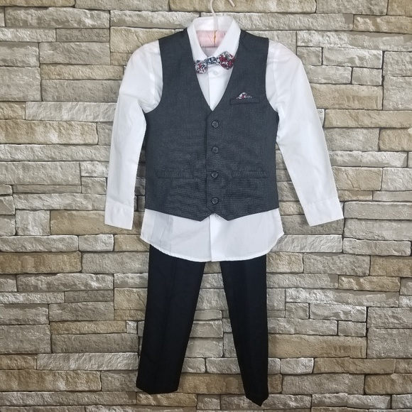 Vest, Dress Shirt, Tie, Pants Wonder Nation Boys 4-Piece Dress Outfit
